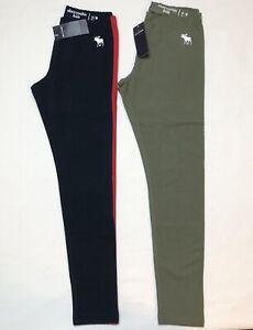 NWT Girls Abercrombie Kids Girls Leggings Size 9/10, Navy/Red, Olive