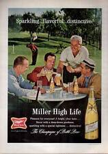 1964 Miller High Life Beer Vintage Bottle on the Golf Course Print Ad