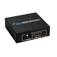2 Port HDMI Splitter Audio Amplifier Repeater 3D 1080p Female +Power Adapter US