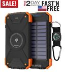 Solar Power Bank, Qi Wireless Charger 10,000mAh External Battery Pack Type C Inp