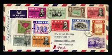 1033-LIBERIA-AIRMAIL REGISTERED COVER MONROVIA to HAMBURG (germany).1955.AFRIKA