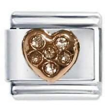 Daisy Charm - Rose Gold Heart & Crystals - Fits Nomination Classic Italian Charm