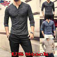 Fashion Men's Slim V Neck Long Sleeve Muscle Tees T-shirt Fit Casual Tops Blouse