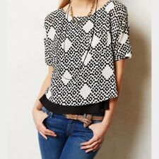 Anthropologie S Meadow Rue black white print crop top Zane layered Tee Small