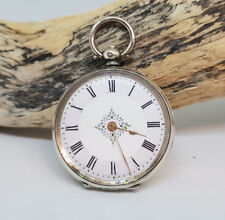 ANTIQUE SOLID SILVER FOB POCKET WATCH LADIES
