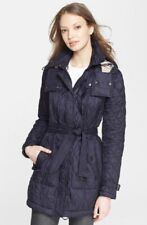 Nwd Burberry Brit Finsbridge Belted Navy Blue Quilted Hooded Jacket  Sz M  $875