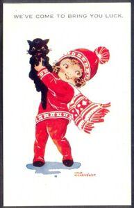 Bringing You Luck - Black Cat & Child. Agnes Richardson Art Postcard. Free Post