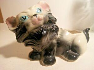 Vtg Cat Planter Kitty Pottery Kitten Plant Pot Blue Eyes Black White Pink Bisque