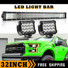 32inch 405W TRI-ROW LED Light Bar Offroad Driving Spot&Flood Combo For suv