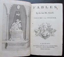 1700s Fables by Mr. Gay 2 Volume Engravings 3rd & 1st editions Tonson & Knapton
