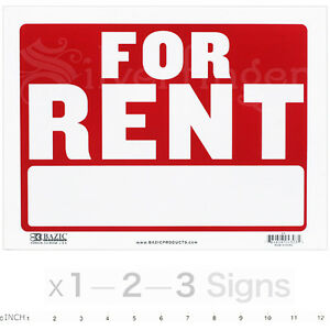 """FOR RENT Sign 9x12"""" inch Weatherproof Plastic Apartments Houses Offices x1 2 3"""