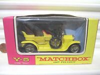 Lesney Matchbox Models of YESTERYEAR Y5 YELLOW 1907 PEUGEOT No Front Seat Bead