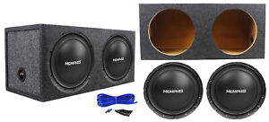 "2 Memphis Audio SRX1244 12"" 500w SRX DVC Car Subwoofers+Sealed Sub Box Enclosure"