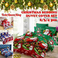 Christmas Duvet Cover & Pillowcases Quilt Cover Bedding Set Double King All Size