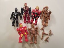 Lot of Six Mega Bloks Minifig Marvel Characters Venom & Iron Man w/ Weapons