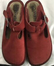 Alegria PG Lite Womans Rust Red 7.5 Faux Fur Lined Slip On Buckle Front Mules