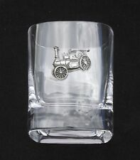 Steam Traction Engine Pair of Crystal Tumblers Pewter Motift Presentation Box
