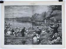 1880 A COLLEGE REGATTA by A.B. Frost Double-Page Woodblock Print