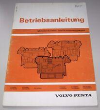 Betriebsanleitung Volvo Penta Motoren für Hilfs + Notstrom Aggregate TD120ARC!