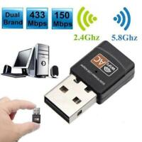 Dual Band 600Mbps 2.4G / 5G Hz Wireless Lan Card USB Adapter PC Dongles WiFi Hot