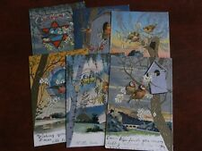ORIGINAL SET OF SIX EARLY TUCK EMBOSSED POSTCARDS - BIRDS - Nos. 3476-3481, GILT