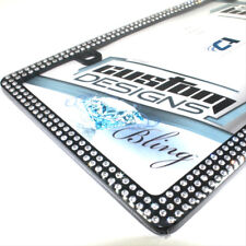 Premium Black Bling Crystal Diamond License Plate Tag Frame for Auto-Car-Truck