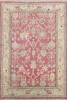 Hand-knotted Muted Authentic Oushak Turkish Area Rug Vegetable Dye Carpet 5x6 ft