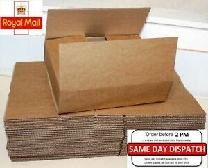 """100 Boxes 12x9x2.6"""" Single Wall Royal Mail Small Parcel Sizes Cardboard Boxes"""