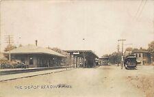 Reading Ma Train Railroad Station Train Depot Real Photo Postcard