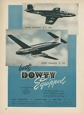 1950 Dowty Equipment Ad AVRO Canada CF100 & C102 Canadian Royal Air Force