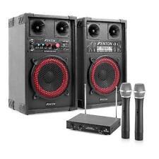 Impianto Karaoke Audio Coppia Casse 2 Canali Professionale Microfono MP3 USB SD
