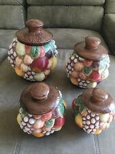 Vintage  4 pcs.canister set ceramic handmade fruit 1970  grapes apples Beautiful