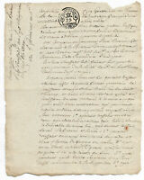 1790 FREEMASON notary manuscript document with stamp and nice calligraphy READY