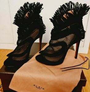 £830  NEW ALAIA PARIS  BLACK SUEDE MESH FRINGED ANKLE BOOTS 37,5/ UK4