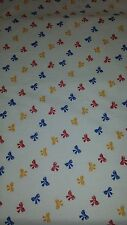 Red/Yellow/Blue Bows Polycotton Print Craft/ Dress Fabric 112cms wide SOLD PER M