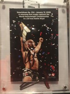 WWE 2K20 Exclusive Kurt Angle Signed Plaque Autograph Collectible