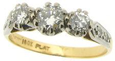 Ladies Three-stone diamond ring 18ct yellow gold platinum Size N1/2 .56ct VS1 H