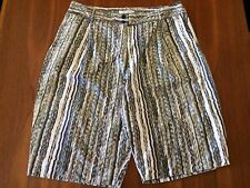 MORRISON Multicolour Olive Purple Watercolour Stripe Cotton Dress Shorts ~ L