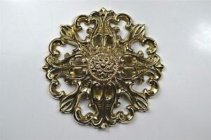 Beautiful Art Nouveau brass ormolu roundel mount mirror furniture emblem SMB1