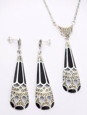 Set Pendant And Studs Enamel & Marcasite 925 Sterling Silver