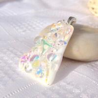 Handmade Dichroic Glass Pendant Necklace Women's Jewellery -Chunky Ice