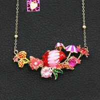 Betsey Johnson Enamel Crystal Conch Shell Flower Pendant Chain Women's Necklace