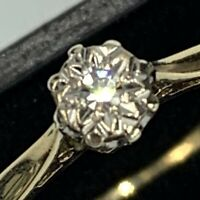 Solid 9ct 375 Yellow Gold Diamond Solitaire Ring UK L 1/2 US 6 L76