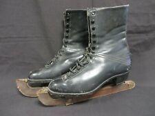 Vintage Harlequin ladies black leather ice skating boots with Pinnacle blades