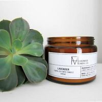 Handmade Candle Soy Wax Lavender Scented Glass Jar 30hr 50hr Hand Poured in UK