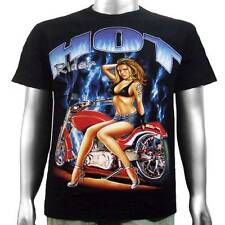 Sexy Pin Up Girl Bikini Bra Jean Shorts Harley Chopper Biker Mens T-shirt M & L