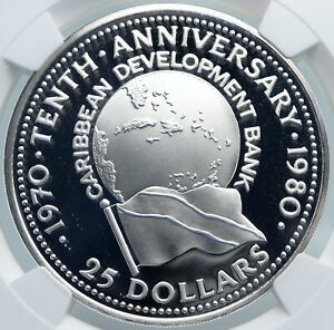 1980 TRINIDAD and TOBAGO Islands CARIBBEAN BANK Proof Silver $25 Coin NGC i87834