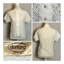 VINTAGE Dortona Ladies Lacy Blouse Faux Pearl Buttons Short Sleeve Size 10 Smart
