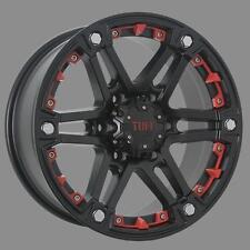 "BRAND NEW 17x8"" +20 OFFSET TUFF A.T. SATIN BLACK WITH RED OR CHROME ATTACHMENTS"