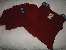 Handarbeit - 2tlg. Set - kirschrot - Kleid u. Jacke - Hello Kitty - Gr. 56/62
